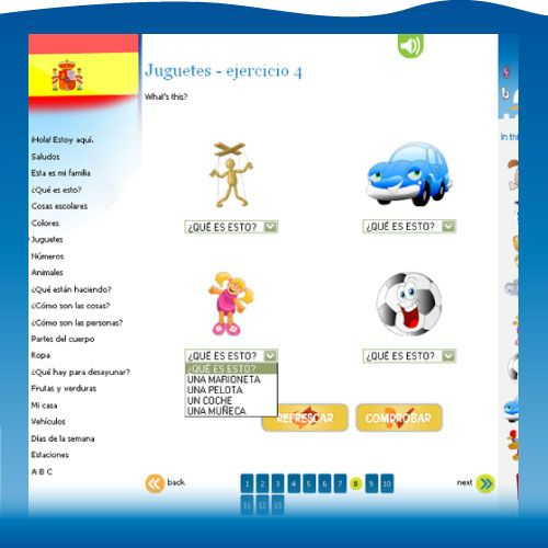 Spanish for Kids - PetraLingua online Spanish course for kids 3-10 with videos, songs, interactive exercises and games, Spanish activity book and flashcards to download.
