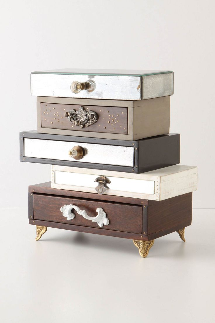 Topsy-Turvy Mixed Drawers Jewelry Box #DIY