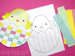 Woven Egg & Chick Cards Printables - Red Ted Art's Blog