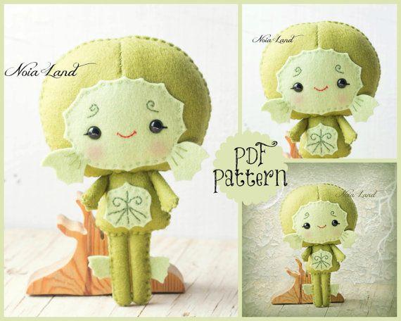 PDF. Black Lagoon creature. Halloween pattern. Plush Doll Pattern, Softie Pattern, Soft felt Toy Pattern.
