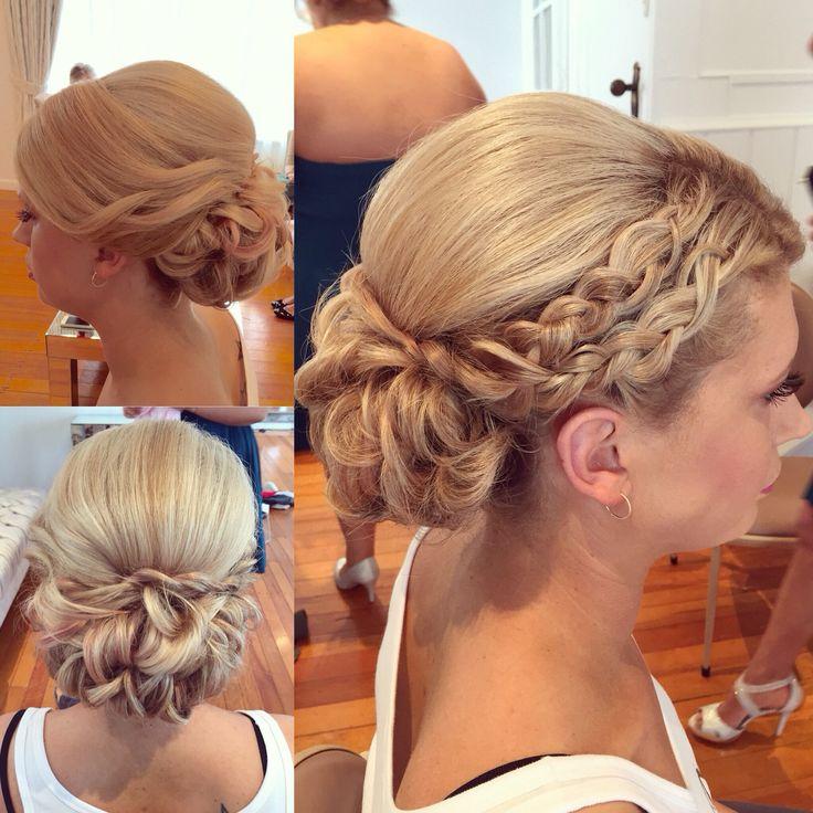 Wedding hair braided curly bun