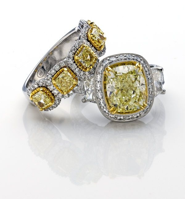 Canary yellow diamond rings