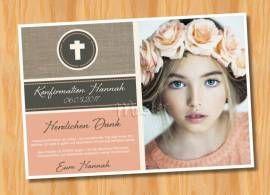 Dankeskarten Danksagungskarten Konfirmation Kommunion  MUSTER 98 - Bild vergrößern