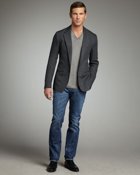 Dolce & Gabbana Pinstripe Flax Blazer, V-Neck Tee & Distressed Medium Blue Jeans