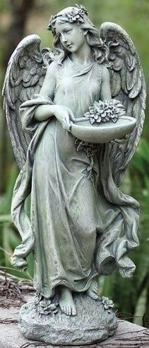 Roman Josephs Studio Inspirational Angel Bird Feeder Outdoor Garden Statue,  15.5 Inch Roman Http