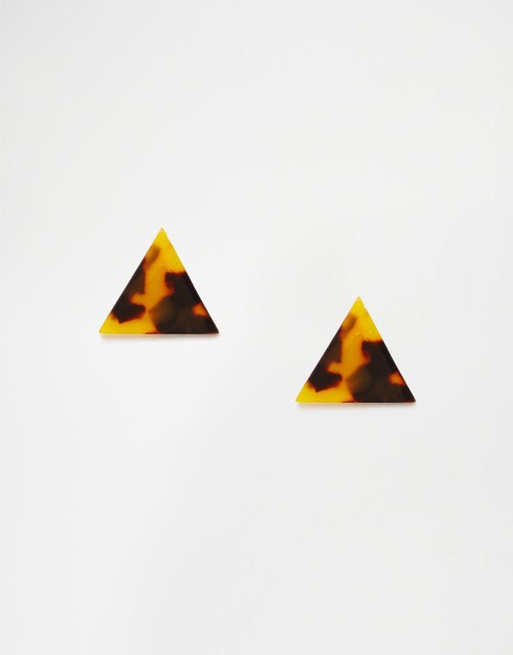Boucles d'oreilles triangulaires en écaille de tortue