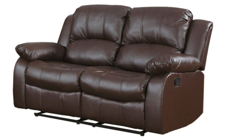 2 Seat Brown Leather Loveseat Recliner   Sofa Mania