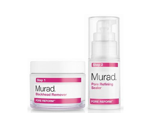 Murad Pore Reform Blackhead Pore Clearing Duo,These acne care products extract stubborn impurities from deep within pores and reduce the formation of blackheads on average by 58% REASONS TO BELIEVE • Detoxifies skin, drawing out dirt and excess oil, to purify pores • Targets sebum oxidation, a leading cause of blackheads, and the buildup of cellular debris • Tightens pores and refines the complexion