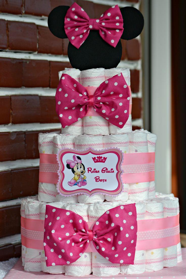 Tort scutece...Tematica Minnie Mouse...Diaper Cake...