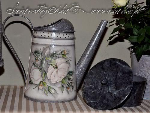 декупажа-лейку с белой розой