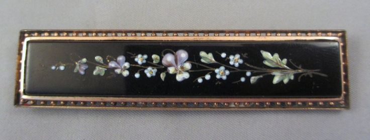 """3"""" Victorian Gold-Filled Enameled Onyx Jet Pansy Mourning Bar Pin Brooch w/ Hook #Unbranded"""