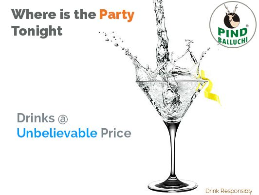 Drinks at unbelievable prices. Visit your nearest Outlet of ‪Pind Balluchi‬ to believe it.