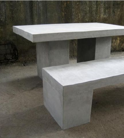 Concrete Outdoor Dining Table And Bench Seat Furniture Http Www