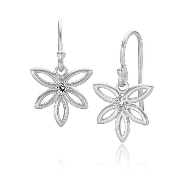 BLOSSOM earrings shaped as flowers with a zirconia in the center in matt white sterling silver - Danish design jewelry by Izabel Camille. Price: EUR 55 No. A1115sw www.izabelcamille.com