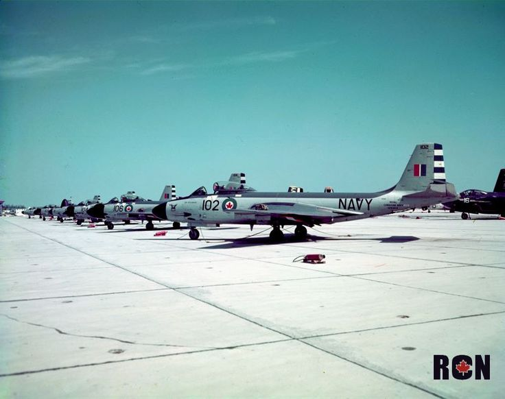 RCN Banshees in line at Boca Chica Field, Key West, Florida. VF 870 Squadron