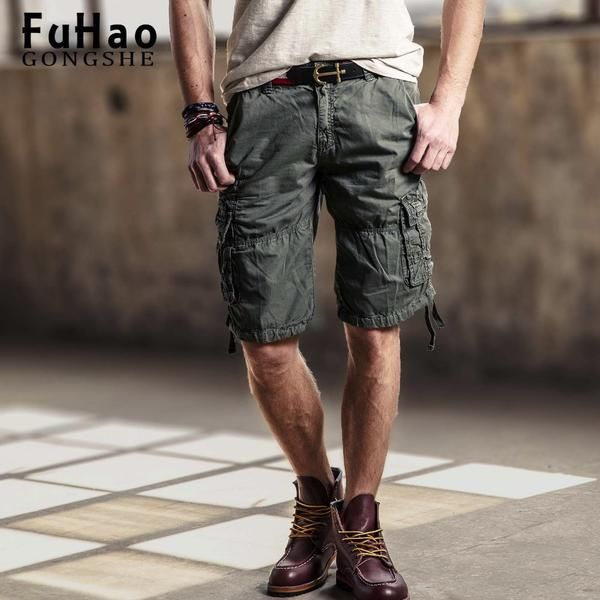 FuzWeb:Mens Casual Slim Fit Cotton Solid Multi-Pocket Cargo Camouflage Shorts Military Short Pants
