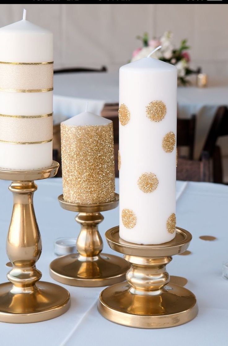 INSPIRATION - we would love to create candles like this! They would look gorgeous with Rose Gold Metallic dots and glamour dust!