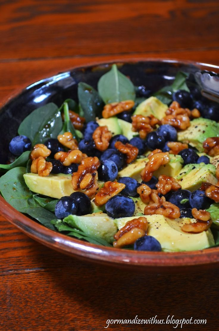 Blueberry & Avocado Salad with Candied Walnuts