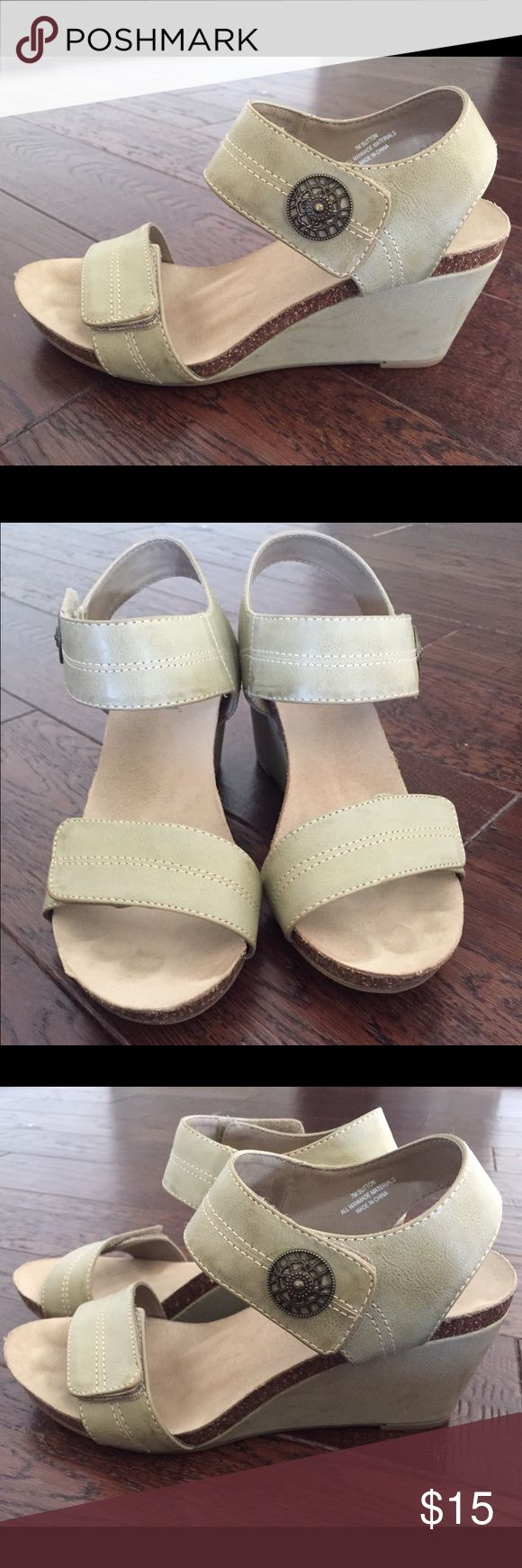 Muted mint green espadrille wedges Muted green espadrille wedge sandals. Velcro at toe strap and ankle strap. Comfortable, moldable sole. Very little wear (wore twice). Some scuffing on heels. Shoes Espadrilles