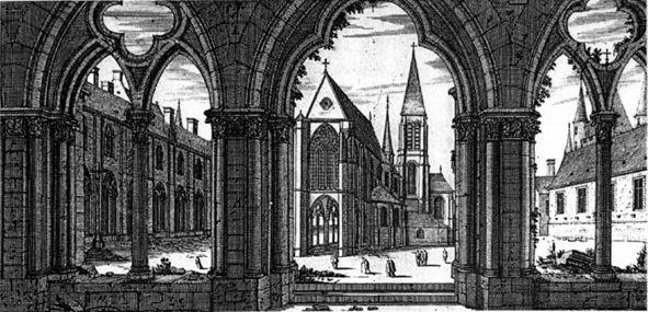 1/4 - L'église du Temple est une église gothique, faite à la ressemblance du Temple de Jérusalem, accompagnée devant la porte d'un petit porche, et enrichi en entrant d'une coupole, dont la voûte est égale à celle du vaisseau, et soutenue par six gros piliers qui portent les arcades jusqu'au premier étage, et sur autant de pilastres au second, qui s'élèvent jusqu'à l'arrachement de la voûte. Cette coupole est entourée d'une nef dont la voûte a une élévation pareille à ces arcades. (Sauval)