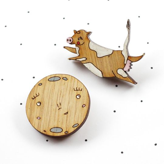 So Little Time Co.   Cow and Moon Brooch