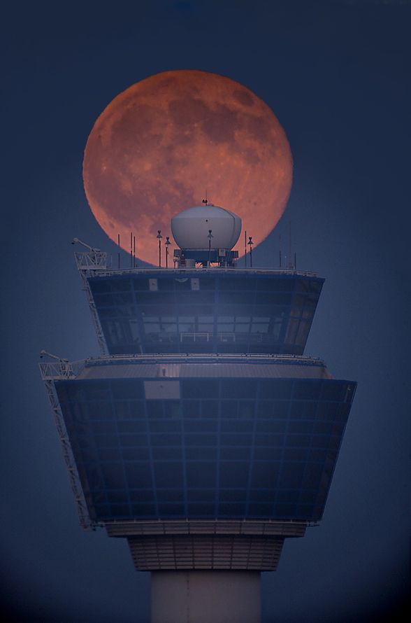 Full Moon Over the Air Traffic Control Tower, Astrophotography by Anthony Ayiomamitis