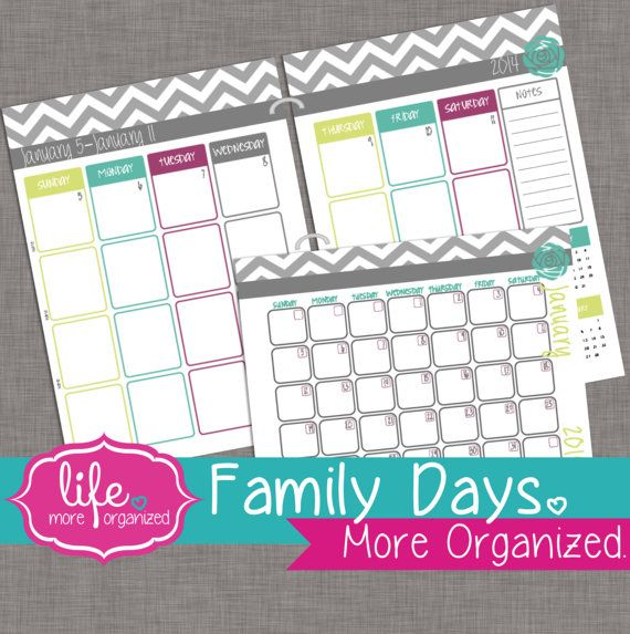 Family Days. More Organized. 2014 Weekly and by lifemoreorganized, $10.00