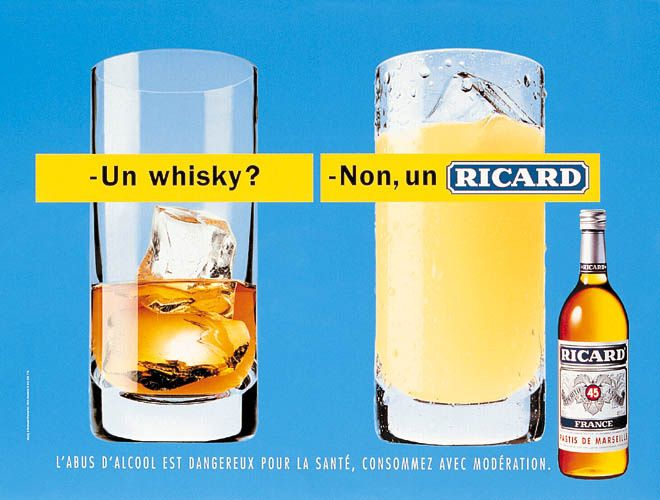 Left: A whisky? Right: No, a Ricard. Poster campaign.