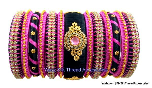Yaalz Partywear Bangles Set In Pink & Black Colors