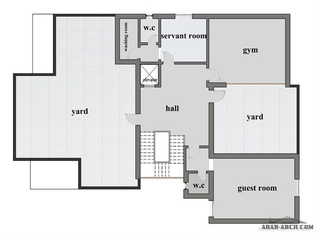 مخطط فيلا حى المصيف مساحة البناء 980 م2 من أعمال مكتب هندسة السكن للإستشارات الهندسية Guest Room Floor Plans Home