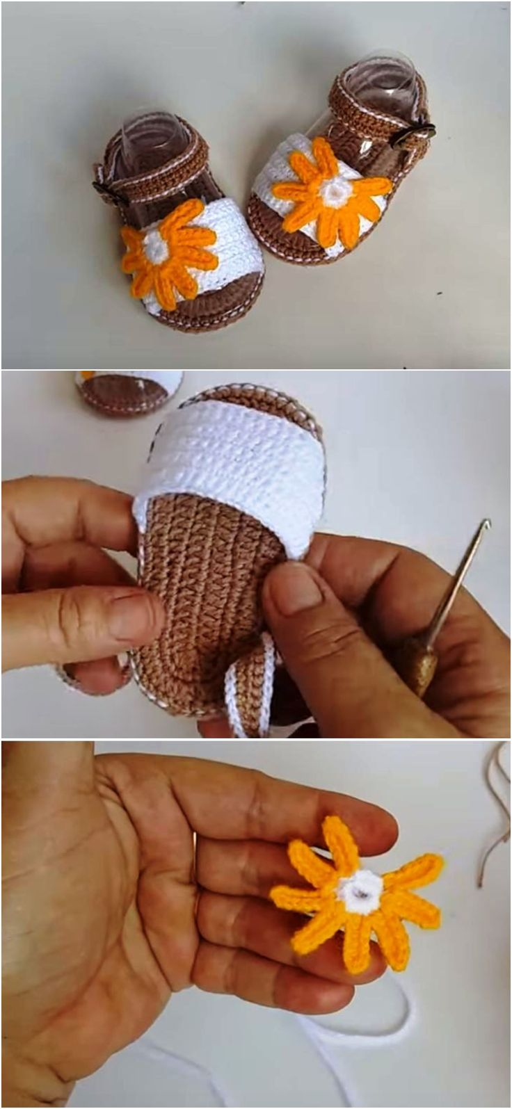 Crochet Baby Girl Shoes With Flower