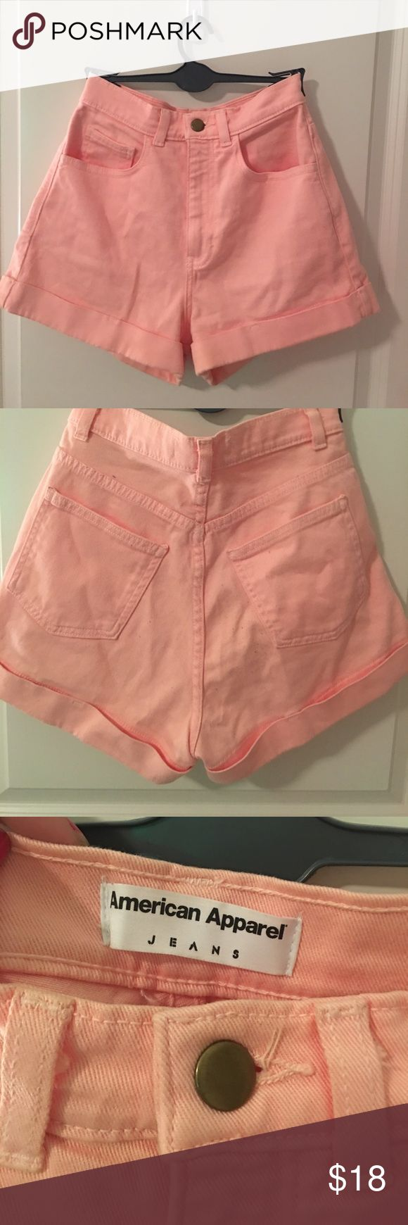 American apparel coral jean shorts Coral shorts. Only worn a couple times! American Apparel Shorts Jean Shorts