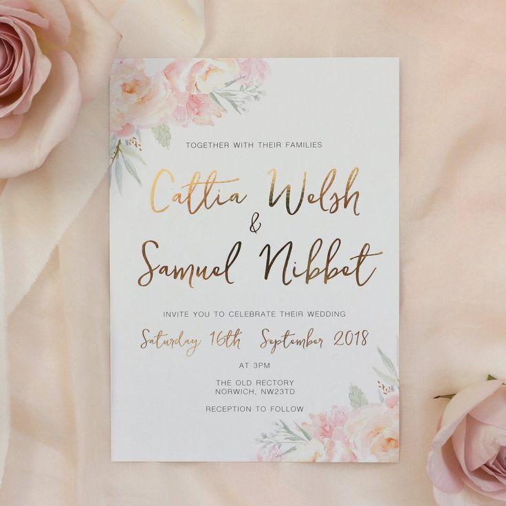 Peony Blush Gold Foil Wedding Invitation 14