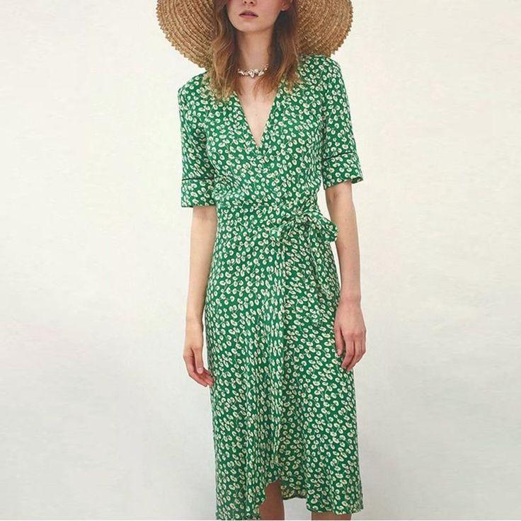 Olivia Leaf Print Wrap Midi Dress