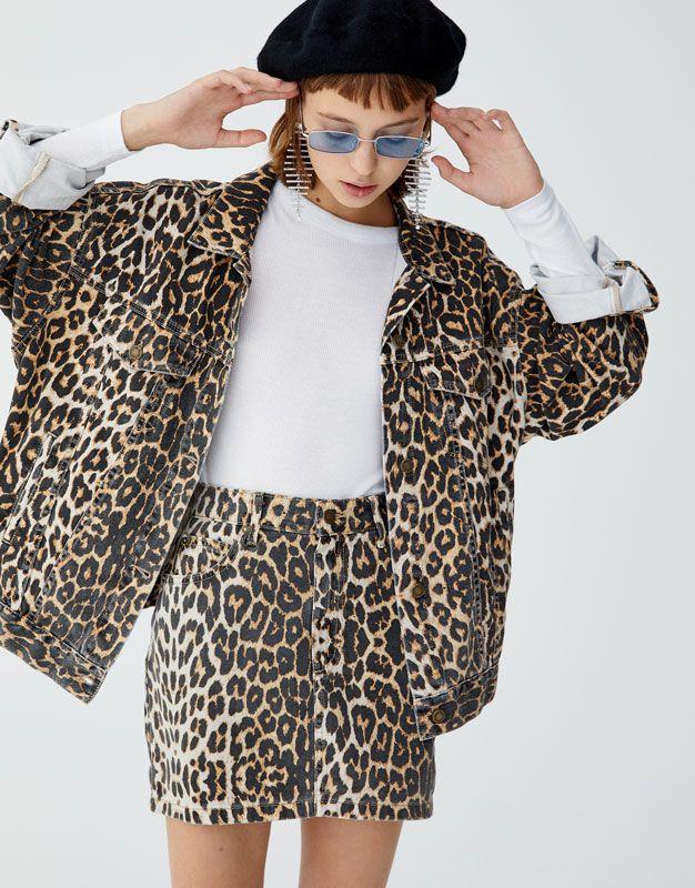 58c88ea45255 Leopard print denim jacket - pull&bear | dickies zara bershka p and ...