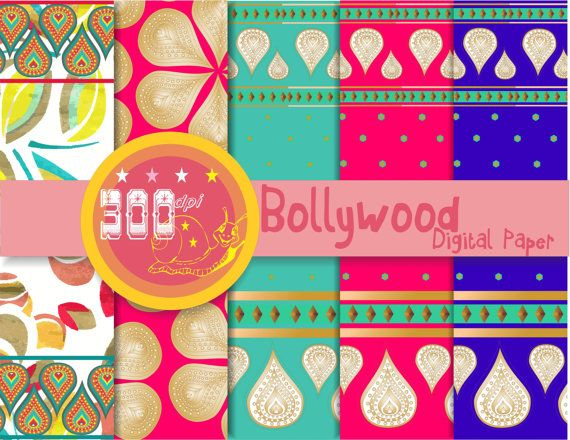 Sari digital paper  5 'Bollywood backgrounds sari Perfect bollywood invitations, themed party, cards
