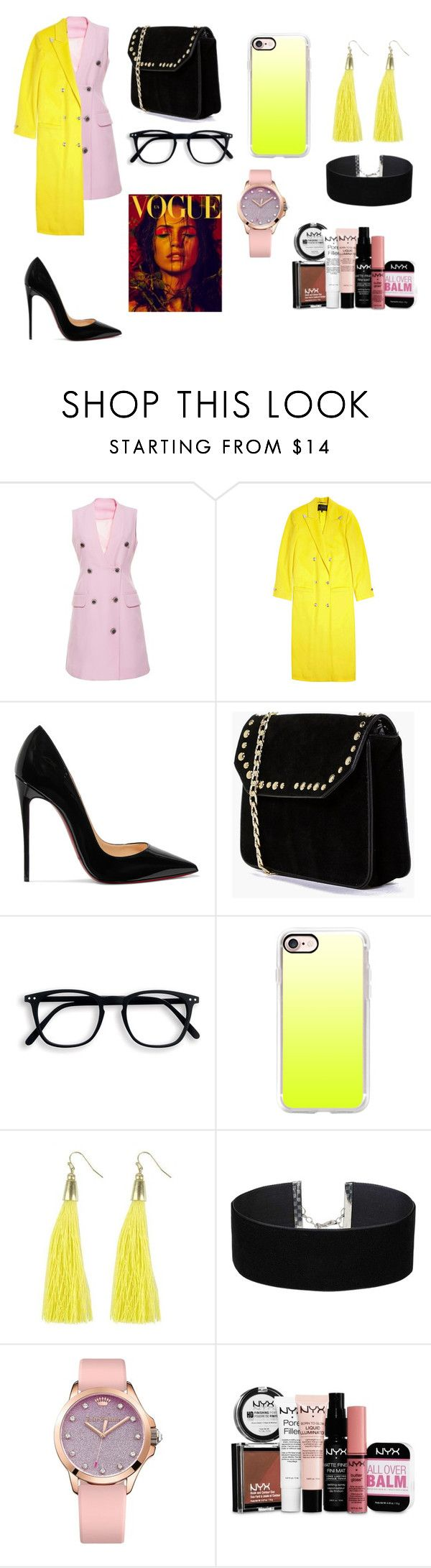 """свидание"" by reduska on Polyvore featuring мода, Versace, Christian Louboutin, Boohoo, Casetify, Moon and Lola, Miss Selfridge, Juicy Couture и NYX"