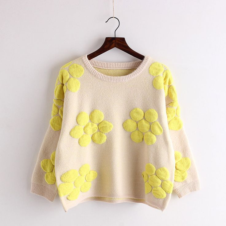 Cute Flower Pullover Loose Contrast Color Scoop Sweater