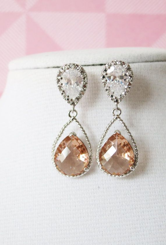 Silver Champagne Teardrop Crystal Earrings, Champagne Bridesmaid Earrings, Bridal Wedding Jewelry, Cubic Zirconia earrings, by GlitzAndLove, www.glitzandlove.com