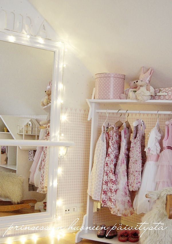 sweet pink clothes on open hanging - plus fairy lights: sweet