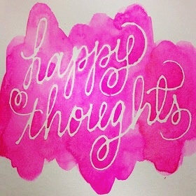 Happy thoughts <3 White wax writing on canvas with water colors!