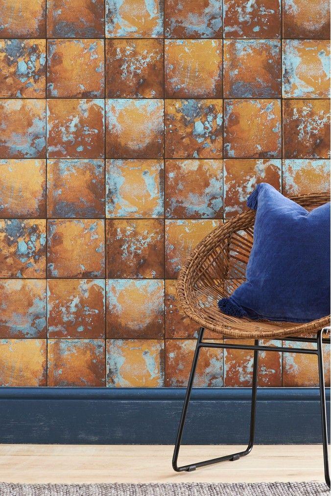 Next Paste The Wall Copper Tin Tiles Wallpaper Orange Tin Tiles Tile Wallpaper Painting Stripes On Walls