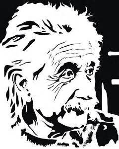 """the emotion conveyed in this stark drawing makes it a great design. The horizontal elements to the right of Einstein's face seem confusing, though. I would have simplified this """"background"""""""