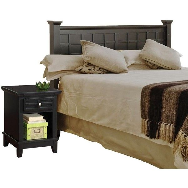Arts and Crafts Black Queen Headboard and Night Stand Set ($500) ❤ liked on Polyvore featuring home, furniture, beds, onyx furniture, arts and crafts furniture, black bedroom sets, arts and crafts bedroom set and craftsman furniture