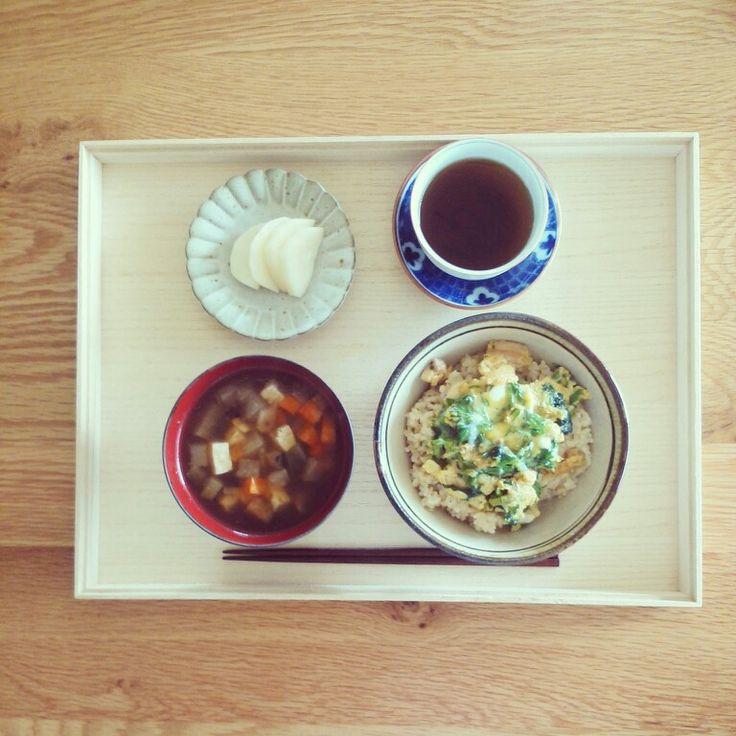 朝ごはん 玉子丼とおくずかけ