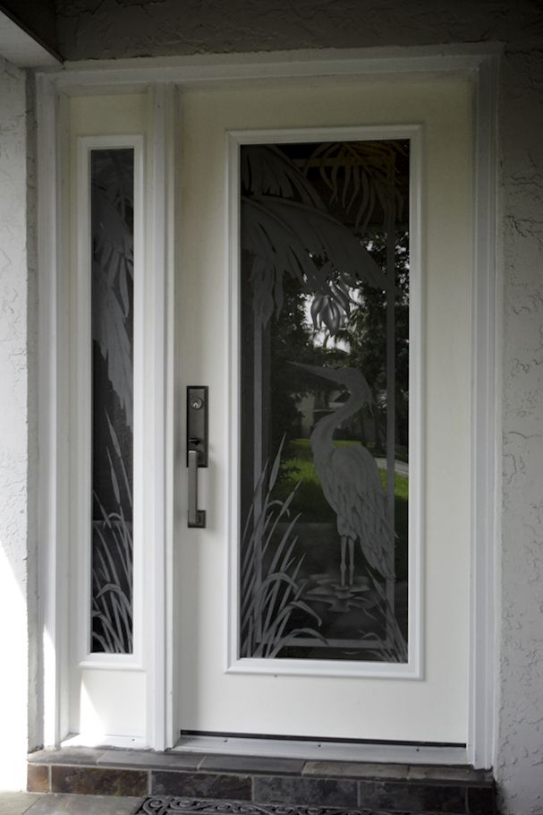 Etched Glass Egret With Palmtrees On Hurricane Impact Glass For The Front Door Has A Matching