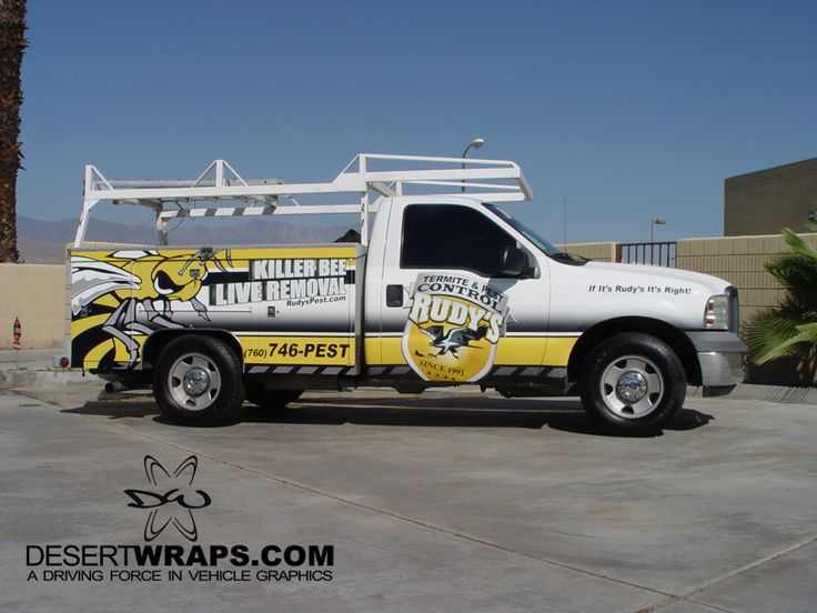 Official DesertWraps.com utility truck wrap for Rudy's Pest Control. High quality and high resolution vinyl wrap completed in Palm Desert, CA. Call DesertWraps.com at 760-935-3600. #UtilityTruck #TruckWrap #VinylWrap #Branding #VehicleBranding Servicing Palm Springs, Cathedral City, Palm Desert, Rancho Mirage, La Quinta, Indian Wells, Indio and the Coachella Valley.