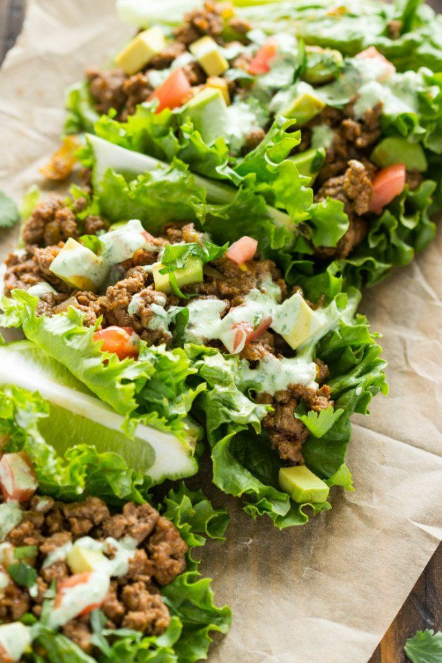 Beef Lettuce Wraps with Spicy Cilantro Jalapeno Sauce   Gimme Delicious