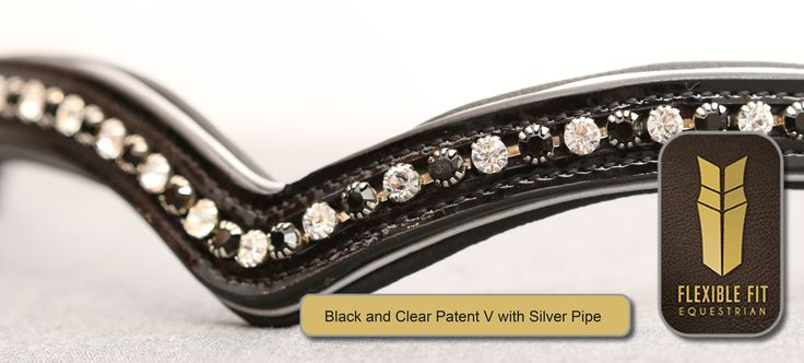 Black & Clear Patent V with Silver Pipe English Leather Flexi-Fit Gel Padded Browband - Black