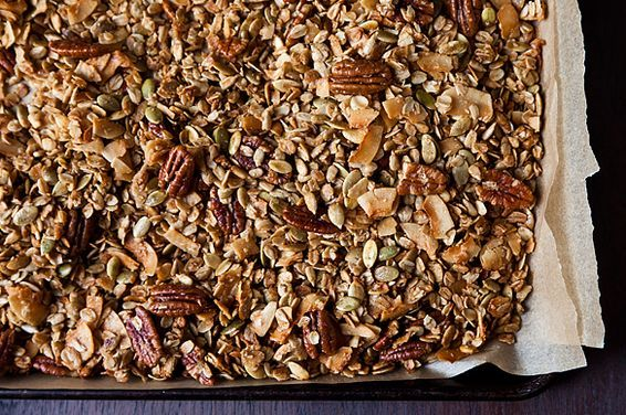 """Granola This recipe, adapted very slightly from Early Bird Foods' best-selling <a title=""""www.earlybirdfoods.com"""" target=""""_blank"""" href=""""http://www.earlybirdfoods.com/""""><strong>Farmhand's Choice Granola</strong></a>, is like muesli after a vampy makeover. Olive oil, maple, brown sugar and coarse salt form a rich, shaggy crust on wholesome innards like oats, pecans, and coconut shards."""